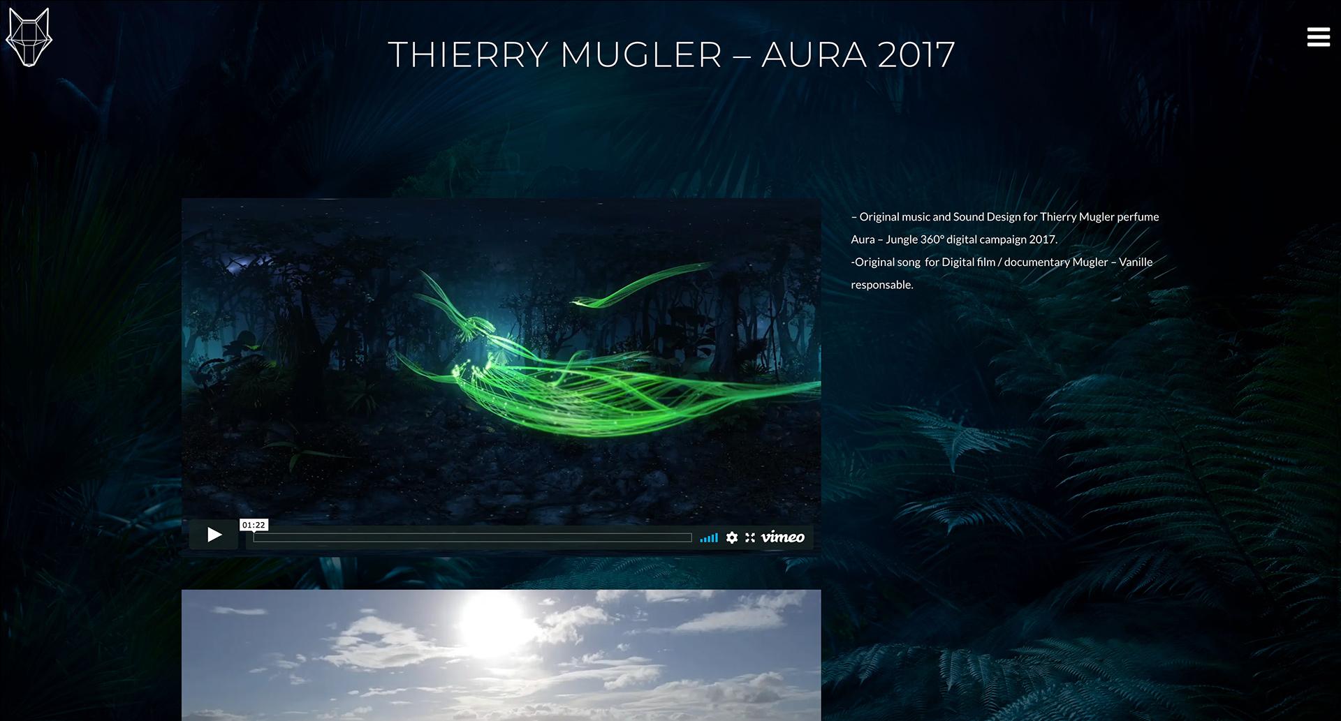Webdesign et développpement pour un studio de composition musicale - sound design à Paris. Projet Aura - Thierry Mugler.