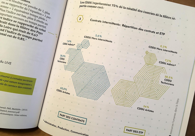 Datavisualisation - infographie sur les types de contrats dans l'industrie des musiques actuelles en Hauts-de-France