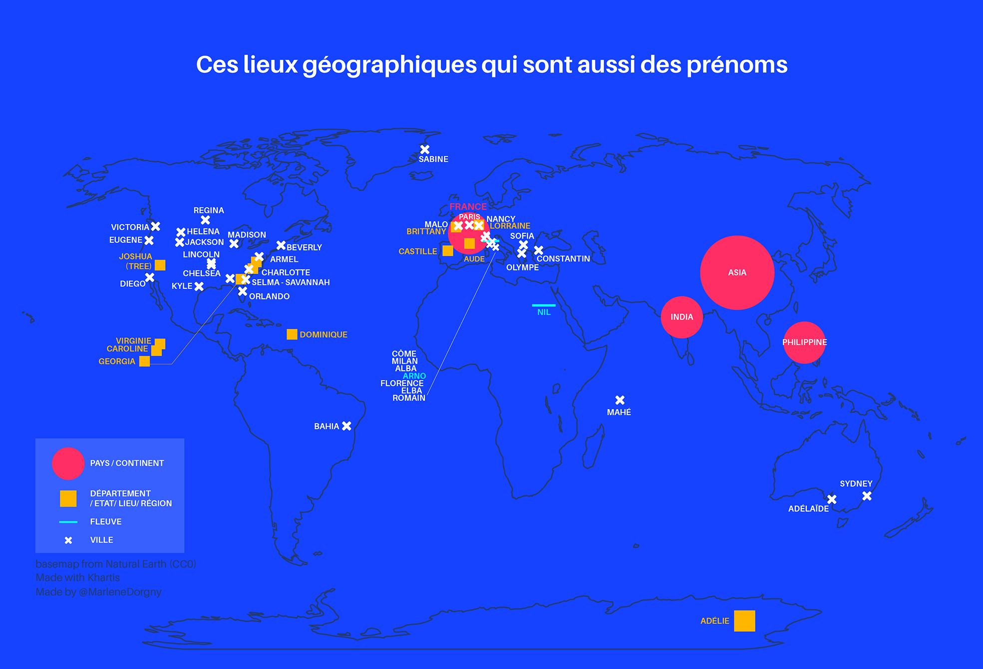 Cartographie monde des villes et endroits qui sont aussi des prénoms