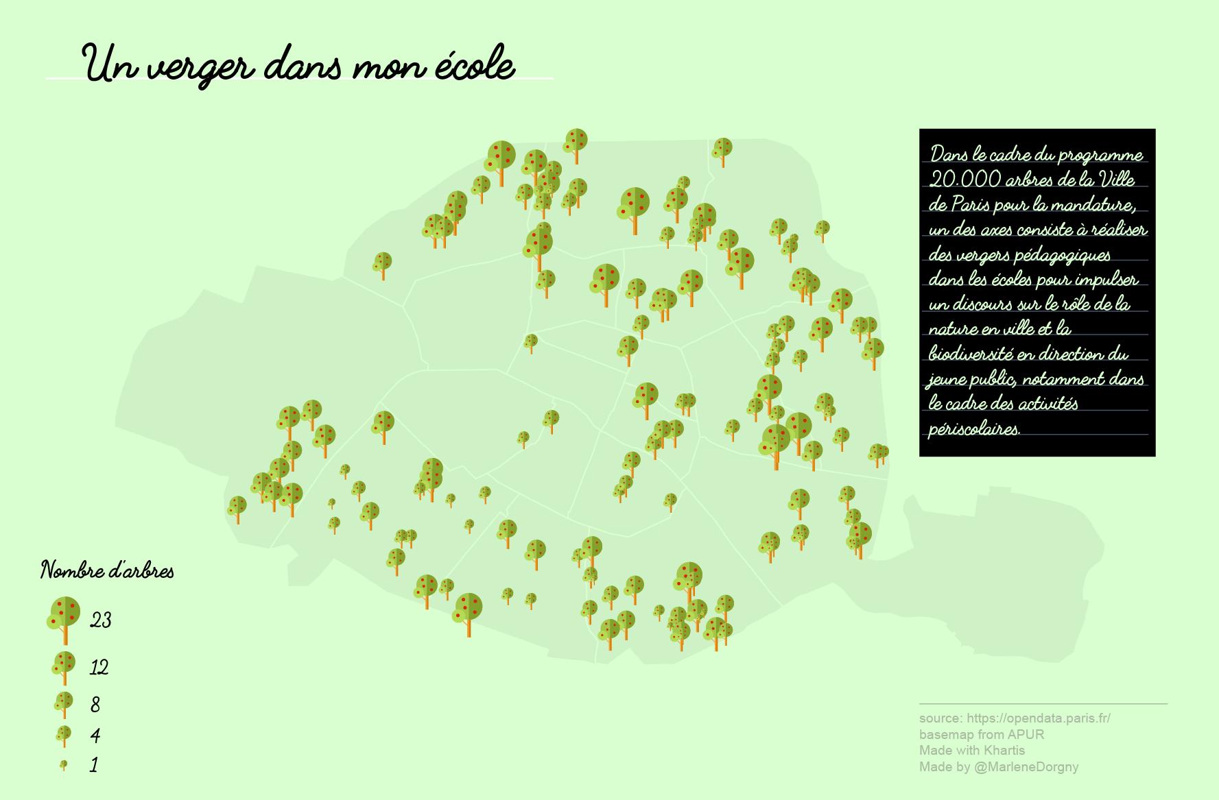 Cartographie des vergers pédagogiques à Paris