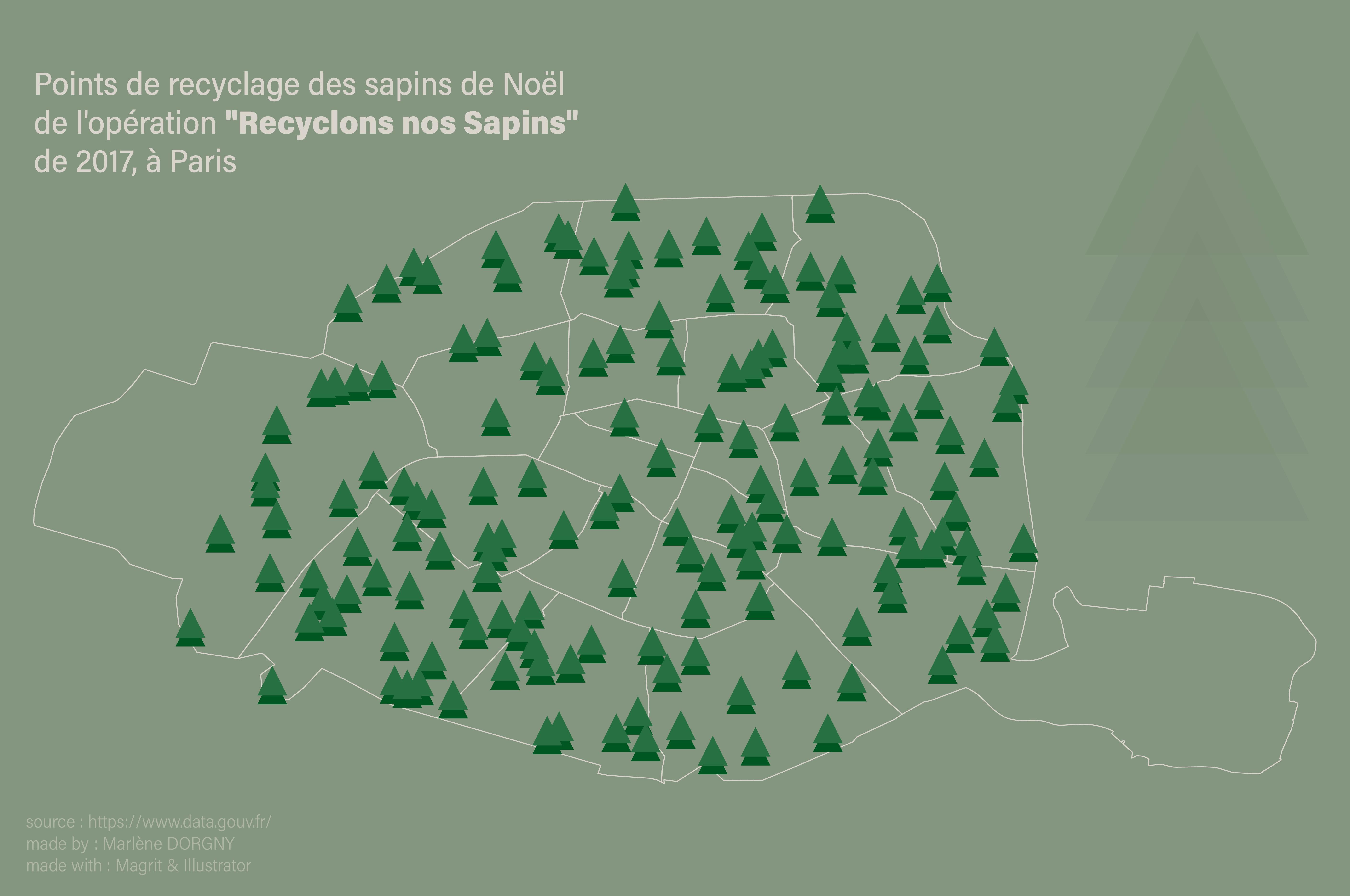 """Cartographie des points de collecte de l'opération """"recyclons nos sapins"""" à Paris en 2017"""